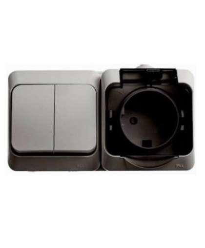 Блок Schneider Electric Этюд BPA16-242C розетка с заземлением + выключатель 2 клавиши серый