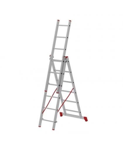 Лестница трехсекционная Новая высота 2230306 3*6 ступеней макс высота 3.69 м