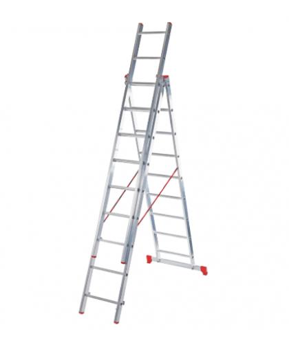 Лестница трехсекционная Новая высота 2230310 3*10 ступеней макс высота 6.3 м