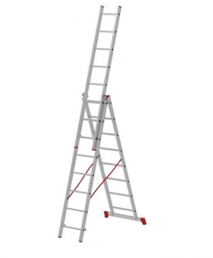 Лестница трехсекционная Новая высота 2230308 3*8 ступеней макс высота 4.73 м