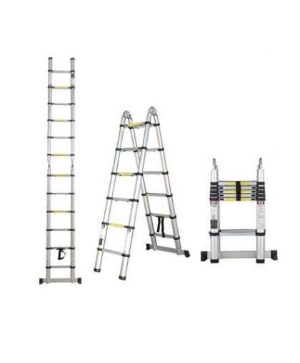 Лестница двухсекционная Startul ST9733-044 2*7 ступеней макс высота 4.4 м телескопическая