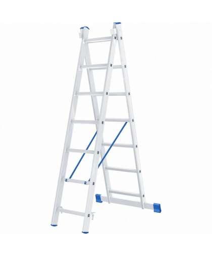 Лестница алюминиевая двухсекционная 2 х 7 ступеней 97907, Сибртех
