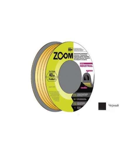 Уплотнитель Zoom Industrial D гаражный 14*12 мм черный 40 м