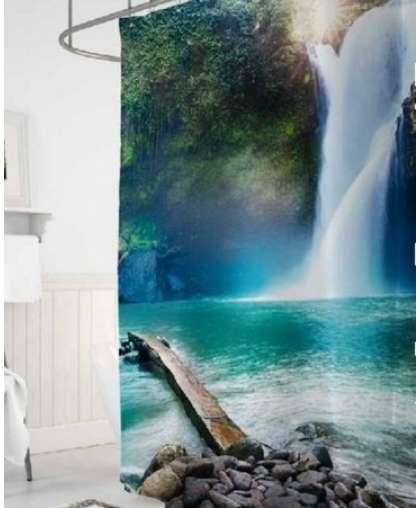 Штора для ванной комнаты 180*200 см Tropikhome Waterfall полиэстер без колец