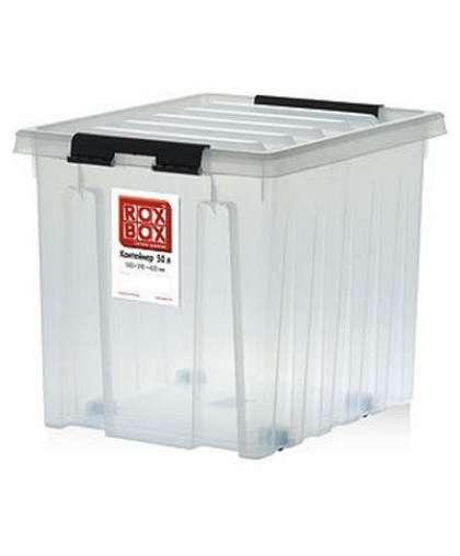 Контейнер Rox Box с крышкой на роликах 50 л прозрачный