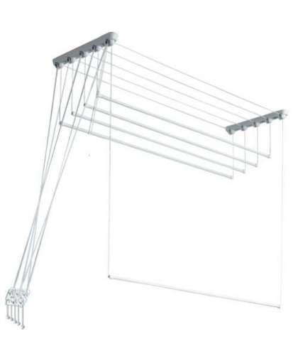 Сушилка для белья потолочная Comfort Alumin EuroPremium алюминиевая белая 2.2 м 5 прутьев
