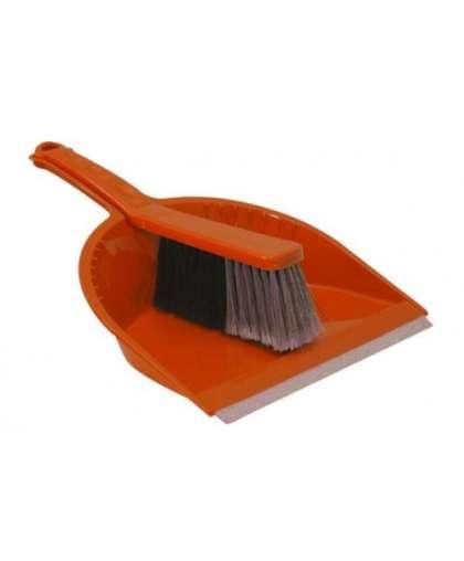 Щетка-сметка и совок с резинкой СТАНДАРТ оранжевый, Idea