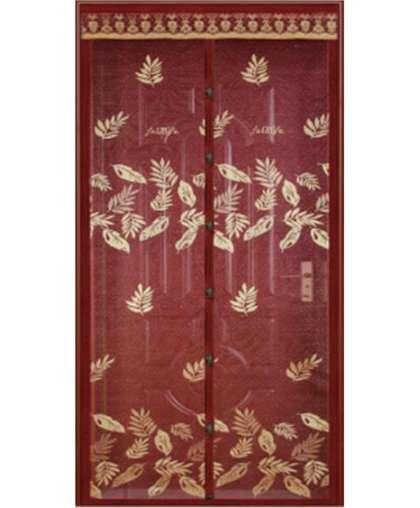 Штора антимоскитная на дверь Dekotex TJ-02 на магнитах 100*210 см коричневая вышивка листья