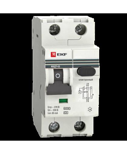 Дифференциальный автомат EKF АВДТ-63 1Р+N C 16А 30мА AC 6кА 2М