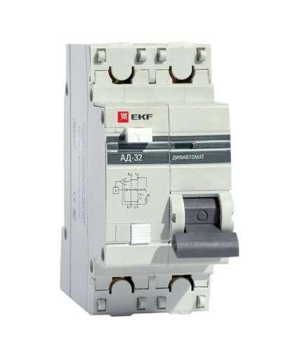 Дифавтомат АД-32 40А/30мА 4,5кА С 1Р+N (электронный, защита 270В) EKF PROxima