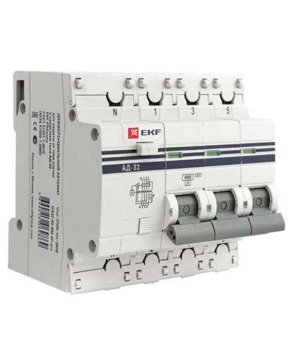Дифференциальный автомат EKF АД-32 3H+N 16А(C) 30мА тип AC 4.5кА, PROxima