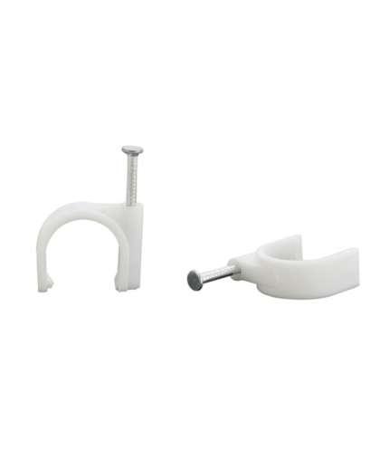 Скобы пластиковые круглые для крепления проводов 5 мм (упаковка 100 штук), Электротехпром