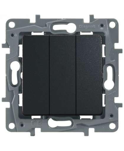 Выключатель Etika 3 клавиши без подсветки 672613 антрацит, Legrand