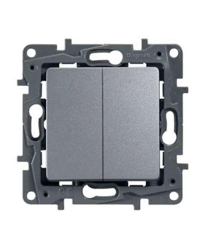 Выключатель Etika 2 клавиши без подсветки 672402 алюминий, Legrand