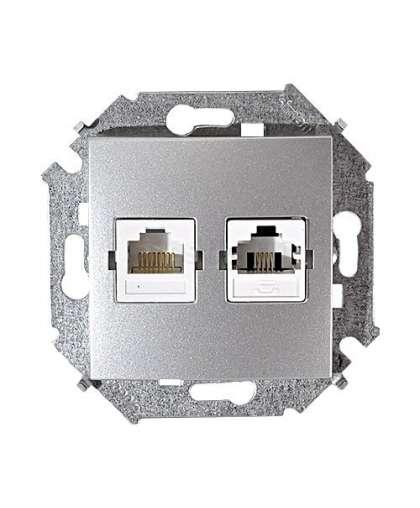 Розетка RJ11+RJ45 1591590-033 алюминий, Simon