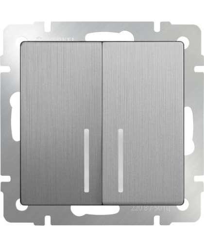 Выключатель WL09-SW-2G-LED 2 клавиши с подсветкой cеребряный рифленый, Werkel