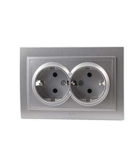 Розетка EL-BI Zena 500-011020-907 2 поста с заземлением серебро