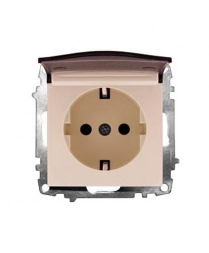 Розетка EL-BI Zena-Vega 609-010300-218 с крышкой с заземлением кремовый механизм
