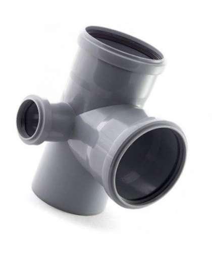 Крестовина двухплоскостная для внутренней канализации 87 градусов 110/110/50 мм левая, Фабипласт