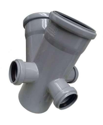 Крестовина двухплоскостная для внутренней канализации 45 градусов 110/110/50/50/50 мм левый/правый тыл, РосТурПласт