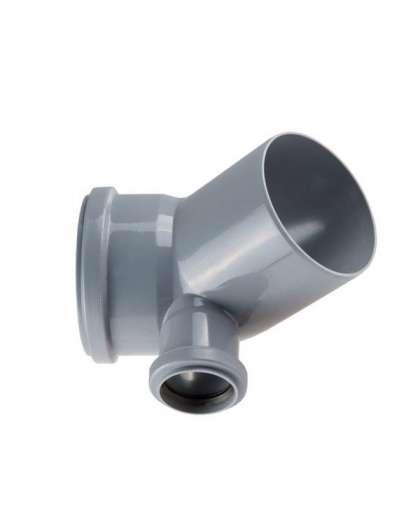 Колено для внутренней канализации 45 градусов 110/50 мм левый, РосТурПласт