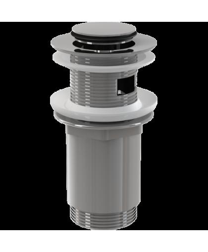 Водослив для умывальника click-clack 5/4, цельнометаллический с малой заглушкой A391, Aacaplast