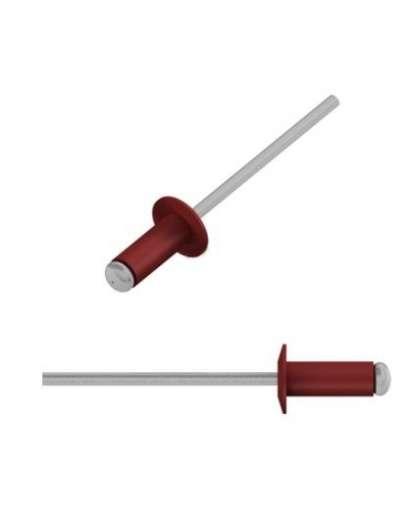 Заклепка вытяжная 3,2*8 мм алюминий-сталь, RAL 3011, 250 шт., SMP2-34186, STARFIX