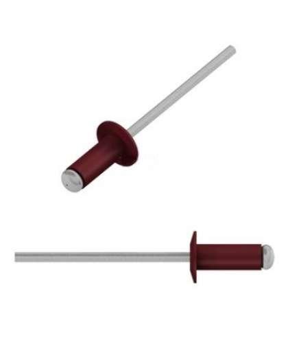 Заклепка вытяжная 4*10 мм алюминий-сталь, RAL 3005, 50 шт в зип-локе, SMZ1-91227-50, STARFIX