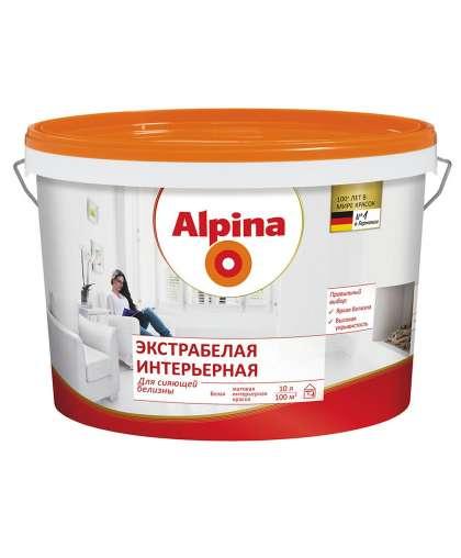 Краска Экстрабелая интерьерная, белая, 10л / 14,5кг, Alpina