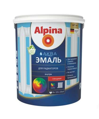 Эмаль акрил. в/д Alpina Аква эмаль для радиаторов 0,9 л/1,08 кг
