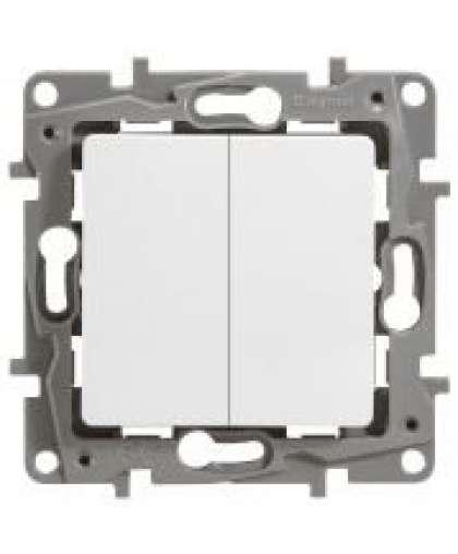 Выключатель Etika 2 клавиши без подсветки 672202 белый, Legrand